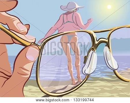 Comic illustration of the modern men attitude to the beauty standards. Man looking at the obese lady through the magic glasses which make her look young and slim. EPS10 vector illustration.