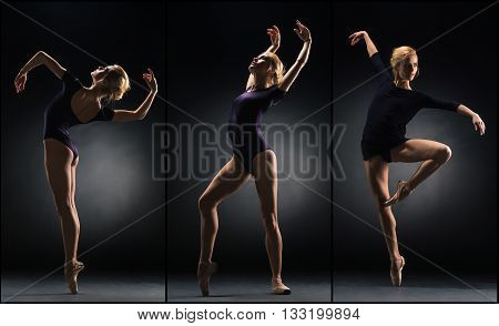 The young beautiful ballerina dancing on black background. Collage