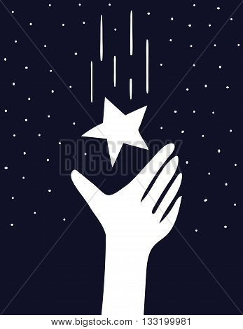 A stylized hand reaches up to cach a falling star in a the night sky full of stars