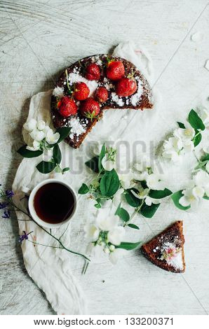Strawberry Tart, Strawberry Shortcake, Strawberry Jam. Serving Homemade Strawberry Cake Or Pie On Wo