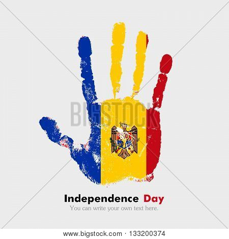 Hand print, which bears the The flag of Moldova. Independence Day. Grunge style. Grungy hand print with the flag. Hand print and five fingers. Used as an icon, card, greeting, printed materials.
