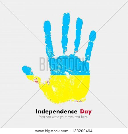 Hand print, which bears the Ukrainian flag. Independence Day. Grunge style. Grungy hand print with the flag. Hand print and five fingers. Used as an icon, card, greeting, printed materials.