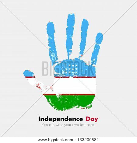 Hand print, which bears the Uzbekistan flag. Independence Day. Grunge style. Grungy hand print with the flag. Hand print and five fingers. Used as an icon, card, greeting, printed materials.