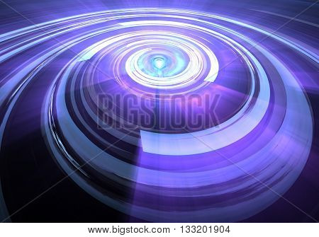 Purple abstract orb. Fractal design on a black background. 3D rendering