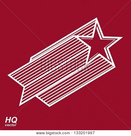 Vector graphic celestial pentagonal comet star illustration.
