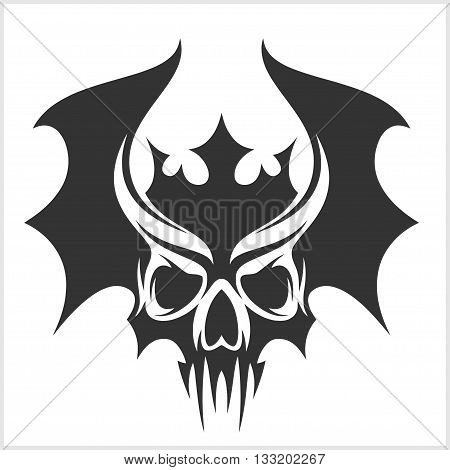 skull with bat wings and a crown - sticker tattoo in vector