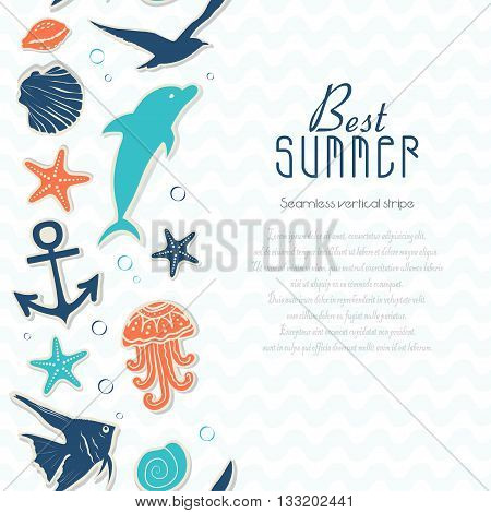 Vertical seamless background with stickers on the marine theme. Vector illustration for your design