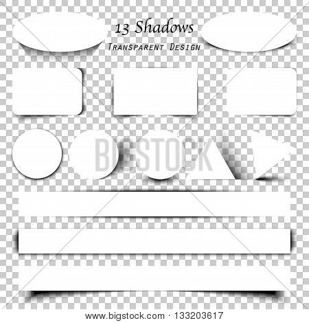 Collection of transparent shadows. Vector blank paper on different shadow elements for your design.
