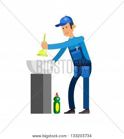 detailed character proffesional plumber men, plumber repair professional, plumber fixing water pipes. Vector plumber set. Illustration plumber character.