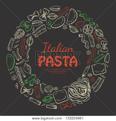 Vector round frame of Italian pasta on dark background. Vector illustration for your design