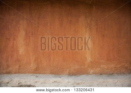 Old wall. Clay wall. Old village wall. Brown wall. Empty wall background.Ukraine village wall. Ukrainian rural house
