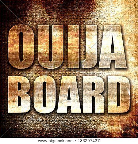 ouija board, 3D rendering, metal text on rust background