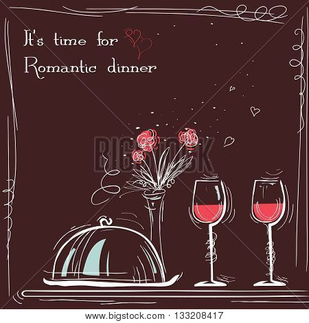 Love Card Romantic Dinner.vector Sketch Illustration With Text