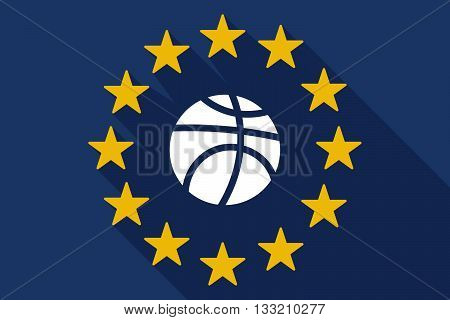 Long Shadow Eu Flag With  A Basketball Ball