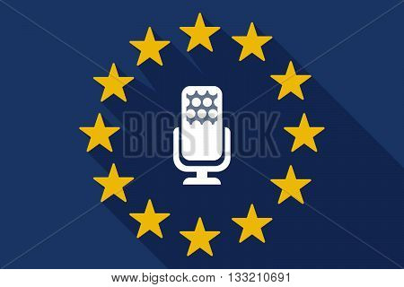 Long Shadow Eu Flag With  A Microphone Sign