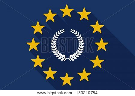 Long Shadow Eu Flag With  A Laurel Crown Sign
