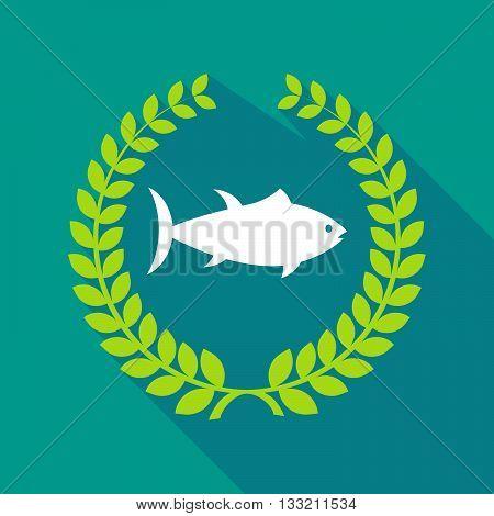 Long Shadow Laurel Wreath Icon With  A Tuna Fish