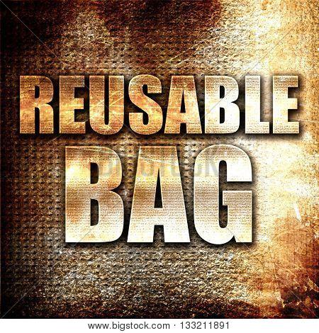 reusable bag, 3D rendering, metal text on rust background