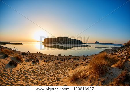 panoramic view on Balos beach at the sunset, Crete, Greece