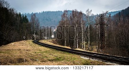 beautiful landscape with railroad and wood in Carpathian mountains, Ukraine