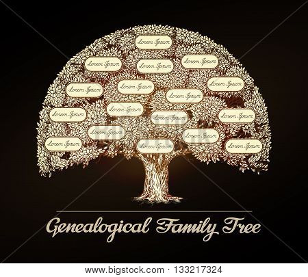 Family tree in vintage style. Genealogy, pedigree or dynasty