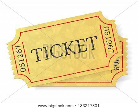 Vintage admit one ticket isolated on white background. Vector illustration.