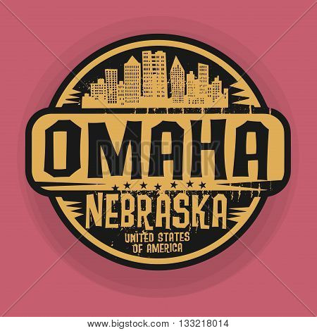 Stamp or label with name of Omaha, Nebraska, vector illustration