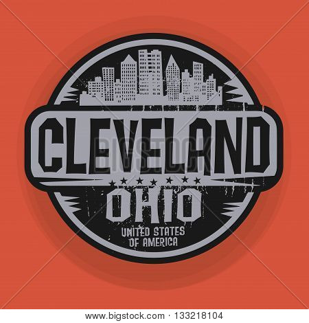 Stamp or label with name of Cleveland, Ohio, vector illustration