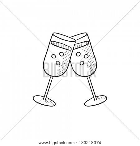 Two glasses with champaign vector sketch icon isolated on background. Hand drawn Two glasses with champaign icon. Two glasses with champaign sketch icon for infographic, website or app.
