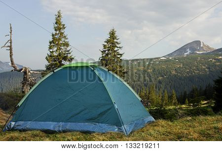 Camping in high mountains. Carpathian mountains. Mountain landscape.