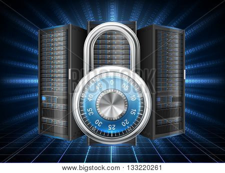Network safety concept - server closed with padlock database security. Password requirement or access denied. EPS 10 contains transparency.