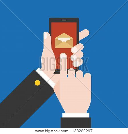 Hand holding  smart phone with new message illustration, Hand touching screen with mail on display, You have got mail illustration concept, Hand Using smart phone concept, flat design