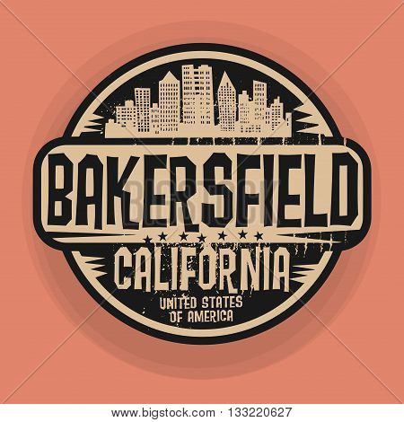 Stamp or label with name of Bakersfield, California, vector illustration