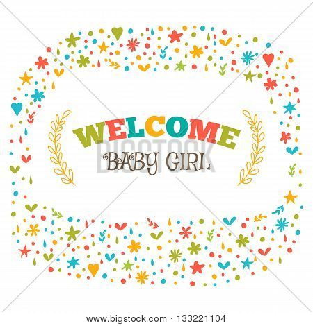 Baby Girl Shower Card. Welcome Baby Girl. Baby Girl Arrival Postcard. Baby Shower Greeting Card. Ann