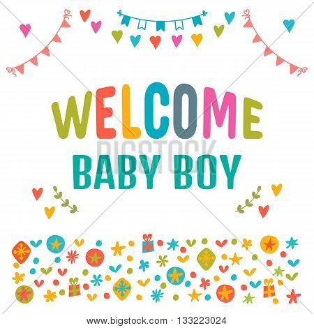 Welcome Baby Boy. Baby Boy Shower Card. Baby Shower Greeting Card. Baby Boy Arrival Postcard