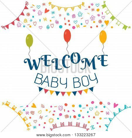 Welcome Baby Boy. Baby Shower Greeting Card. Cute Baby Boy Shower Card. Baby Boy Arrival Postcard