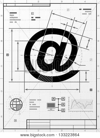 Email symbol as technical drawing. Stylized drafting of mail sign with title block.