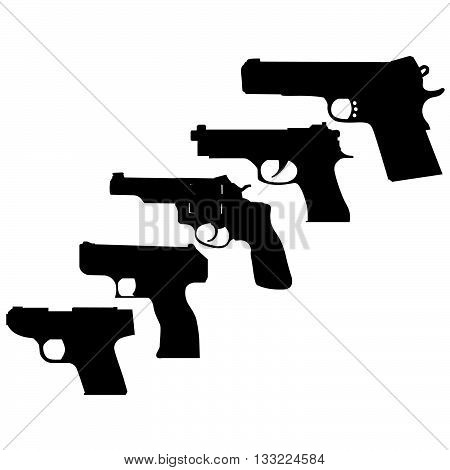 different styles of handguns lined up by size