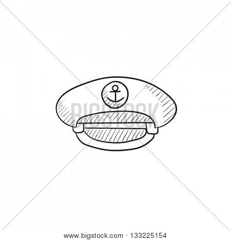 Captain peaked cap vector sketch icon isolated on background. Hand drawn Captain peaked cap icon. Captain peaked cap sketch icon for infographic, website or app.