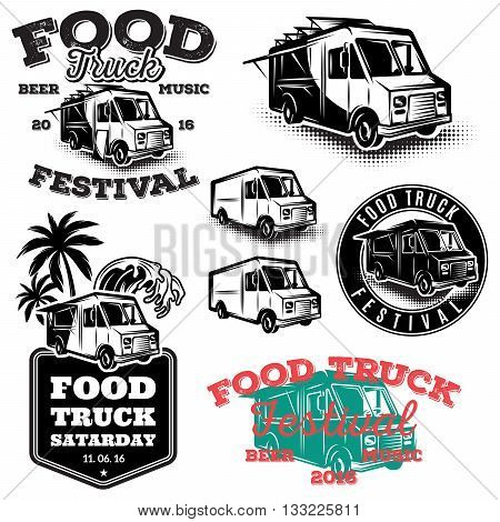 set of templates design elements vintage style emblems for the food truck
