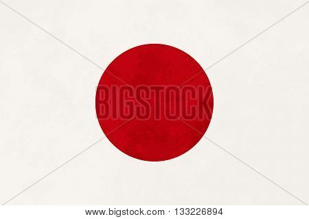 True proportions Japan flag with grunge texture