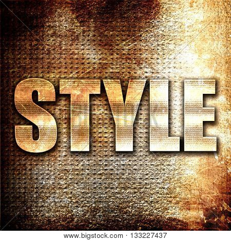 style, 3D rendering, metal text on rust background