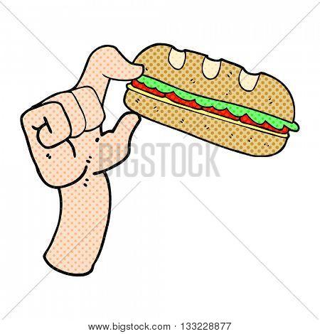 freehand drawn cartoon sub sandwich