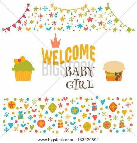 Welcome Baby Girl. Baby Girl Shower Card. Baby Shower Greeting Card. Cute Baby Girl Arrival Postcard