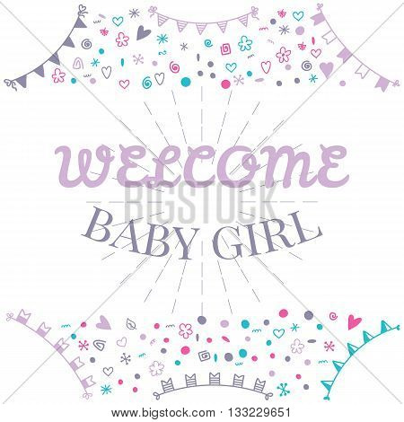 Welcome Baby Girl. Baby Shower Greeting Card. Cute Baby Girl Shower Card. Baby Girl Arrival Postcard