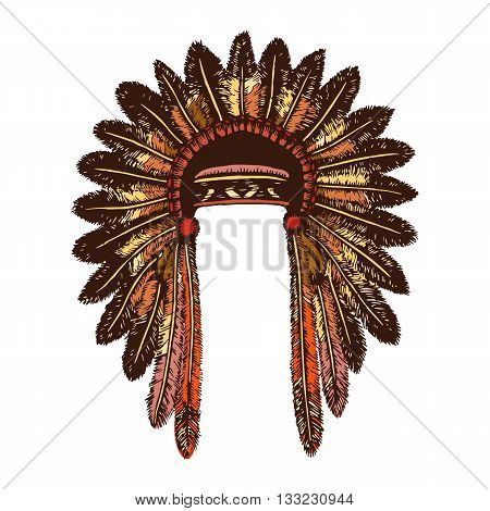 Colored hand drawing ink traditional indian headdress. Elements in native style for greeting card and postcard, henna and tattoo design. Authentic American Indians headdress.