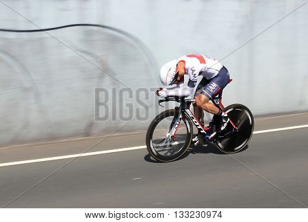 APELDOORN, NETHERLANDS-MAY 6 2016: Matteo Pelucchi of pro cycling team IAM Cycling during the Giro d'Italia prologue time trial.