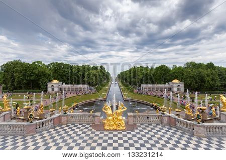 SAINT PETERSBURG, PETERGOF, RUSSIA -JUNE 02, 2016: Fountains of Lower Gardens, the Sea Canal  in Peterhof, near Saint Petersburg. Fountains of Peterhof are one of Russia's most famous tourist attractions