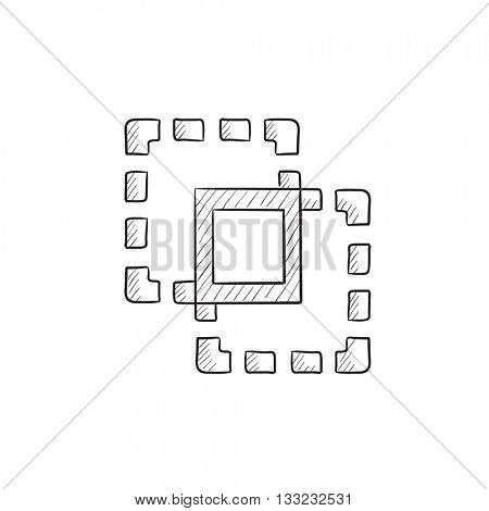 Crop vector sketch icon isolated on background. Hand drawn Crop icon. Crop sketch icon for infographic, website or app.