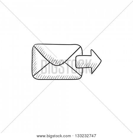 Sending email vector sketch icon isolated on background. Hand drawn Sending email icon. Sending email sketch icon for infographic, website or app.